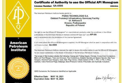 Posiadamy Certyfikat API